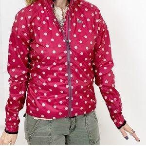 Sugoi pink polka dot jogging water-resistant coat